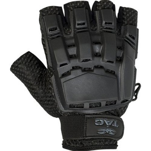 Valken V-TAC Half Finger Plastic Back Airsoft Gloves, Black, Medium/Large (Airsoft Body Armor)