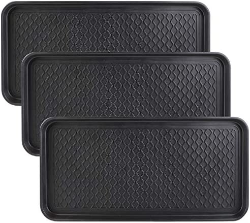 Falflor Boot Trays for Entryway 3 Packs 30 15 Functional Heavy Duty Boot Trays Indoor Outdoor Mats Pet Feeding Mat Black
