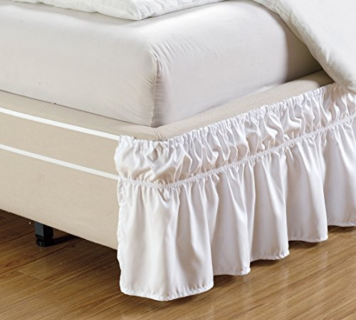 Easy Fit, Wrap Around WHITE Ruffled Elastic Solid Bed Skirt Fits both TWIN and FULL size bedding High Thread Count 14 inch fall Microfiber Dust Ruffle, Silky Soft & Wrinkle Free.