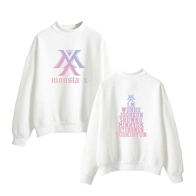 Monsta X Mujer Sudaderas Cuello Alto Casuales Suéter Estampados Sweater Manga Larga Tendencia Jerseys Cómodo Sweatshirts Suelto: Amazon.es: Ropa y ...