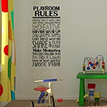 "Playroom Rules wall saying vinyl lettering art decal quote sticker home decal (12.5""W x 27""H)"