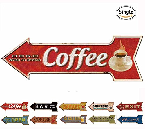 HANTAJANSS Metal Signs Arrow Coffee Signs for Wall - Arrow Retro
