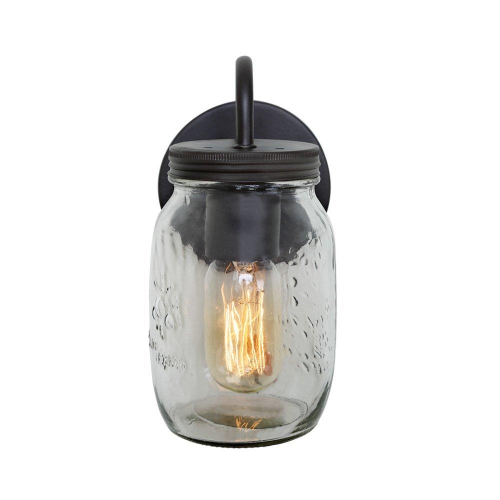 LNC 1-Light Wall Sconce Glass Jar Wall Sconces Mason Jar Wall Lamp Sconces Vanity Lighting A02979