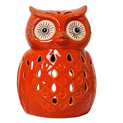 Hosley Orange Ceramic Owl Tealight Holder 7 Inch High. Ideal Gift for Wedding Party spa Reiki etc Tea Light P2 (Tea Ceramic Light Holder)