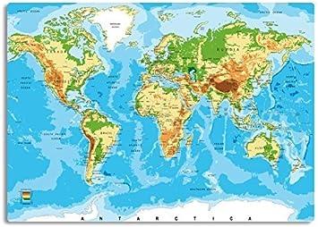 Rutschfeste Design Schreibunterlage Weltkarte Relief 70 X 50 Cm