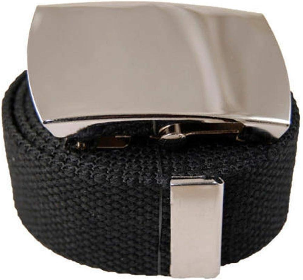Silver Big Plain Canvas Military Web Black Belt /& Buckle 60 inch Plain Flip #AAAS