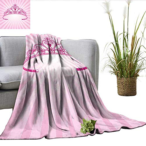 ScottDecor Kids Queen Size Blanket Beautiful Pink Fairy Princess Costume Print Crown with Diamond Image Art Sherpa Throw Blanket W50 xL70