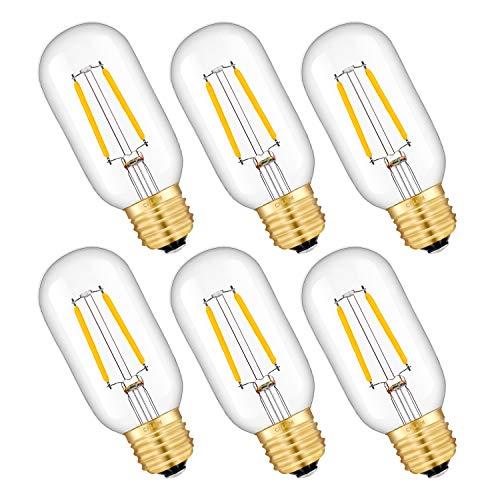 CRLight LED Tubular Edison Bulb 25W Equivalent 250LM Dimmable, 2W 2700K Warm White E26 Medium Base T14(T45) Antique Tubular LED Filament Bulbs, 6 Pack