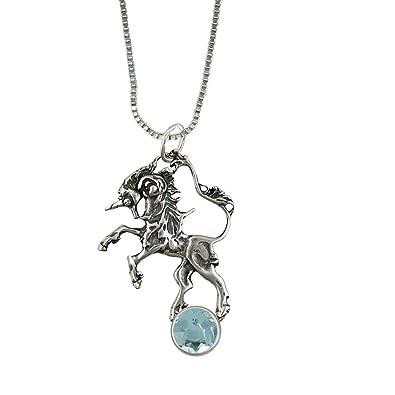 Das Silver Dragon Dancing Einhorn In Sterling Silber Mit Echtem Blau