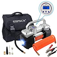 GSPSCN Portable Air Compressor Pump Heavy Duty Double Cylinders Tire Inflator 150PSI 12V with LED Flashlight and LCD Digital Display Gauge