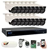 GW Security 16CH Plug & Play 5MP DVR 1920p CCTV Security System, (16) x 5-Megapixel (2592TVL) Weatherproof 2.8~12mm Varifocal Bullet Cameras Home Surveillance System 4TB HDD, QR-Code Easy Setup