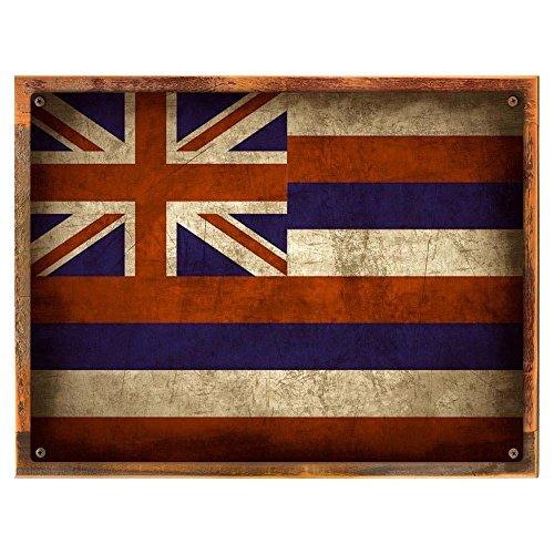 Wood-Framed Hawaii Map Metal Sign, Vintage Travel Postcard Highlighting Traditional Ameri... on reclaimed, rustic wood