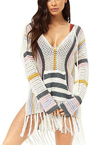 (Bsubseach Knitted Crochet Beach Tunic Top Women Long Sleeve Hollow Out Tassel Bikini Swimwear Cover Ups)