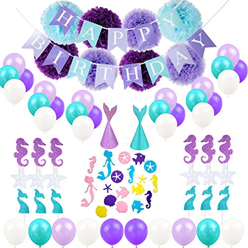 HankRobot Mermaid Balloons Party Supplies(65 Pack) Happy Birthday Banner Mermaid Confetti and Hats Paper Flower Decorations - Perfect Birthday Decorations for Girls - Birthday Lavender Hat