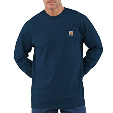 free shipping on feet at fashion style Carhartt Men's Workwear Long Sleeve Pocket T-Shirt K126, Dark Cobalt Blue  Heather, X-Large