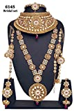 Bollywood Style Golden Plated Kundan Stone Polki Indian Necklace Earrings Bridal Set Jewelry