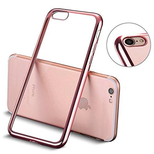 iPhone 7 hülle, Mture Tasten Schutzhülle iPhone 7 Crystal Clear Case Cover Bumper Anti-Scratch Plating TPU Silikon Durchsichtig Handyhülle für iPhone 7(Rose Gold)
