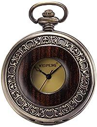 AMPM24 Steampunk Mechanical Half Hunter Vintage Retro Copper Pendant Pocket Watch Gift WPK143