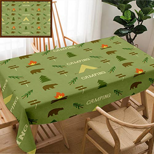 - Unique Custom Design Cotton and Linen Blend Tablecloth Camping Elements Pattern Camping Seamless Wallpaper Design Equipment for Camping BackgrounTablecovers for Rectangle Tables, Small Size 48