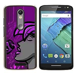 LECELL--Funda protectora / Cubierta / Piel For Motorola MOTO X3 3rd -- Púrpura Mujer --