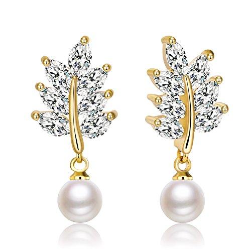 Zolure 24K Gold Handpicked AAA+ Freshwater Cultured White Pearl Earrings for Women (24k Gold Drop)
