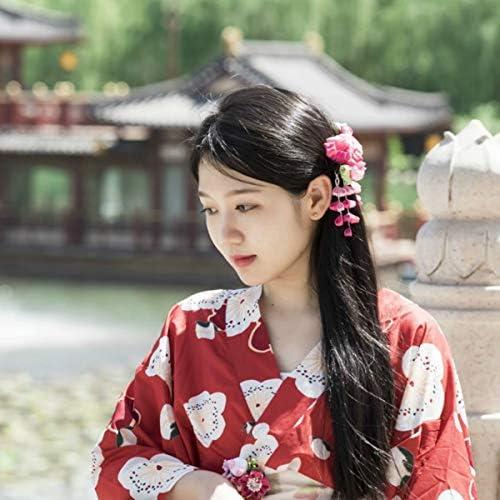 Japanese Style Green Sakura Hair Clip for Kimono Accessory Tassel Girl Hairpin