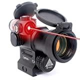 CTOPTICS LEOS Red Dot Sight with Integrated Laser and Riser 2 MOA Red Dot Scope with Flip up Lens Caps