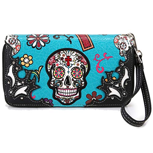 Western Clutch Cross Wristlet Wallet the Skull Purse Turquoise Sugar Dead of Calavera Day UqOW6Ry1H