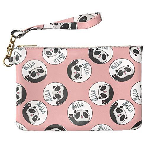 Lex Altern Makeup Bag 9.5 x 6 inch Kawaii Hello Panda Animal Pink Pattern Cute Bear Design Print Purse Pouch Cosmetic Travel PU Leather Case Toiletry Women Zipper Bathroom Wristband Girly Accessories