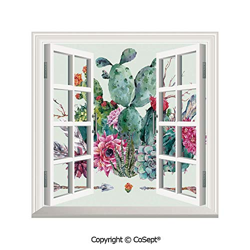 (SCOXIXI Window Wall Sticker,Spring Garden with Boho Style Bouquet of Thorny Plants Blooms Arrows Feathers Decorative,3D Window View Decal Home Decor Deco Art (25.86x22.63)