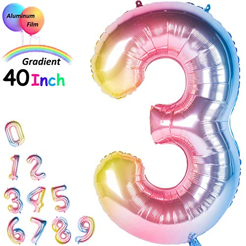 40 Inch Giant Foil Balloons Gradient Color Number Ballons Rainbow Party Balloons (Number 3)]()