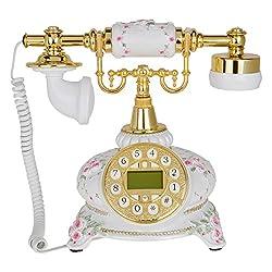 Kmise 108A White Flower Retro Vintage Style Push Button Antique Telephone Dial Desk Phone Home Decor