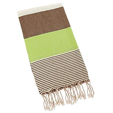Swan Comfort 100% Natural Turkish Cotton Absorbent Beach Towel, Easy Care ideal for Bath Spa Fitness Yoga Pool Yatch Swimwear Guest Gym - Brown - Green