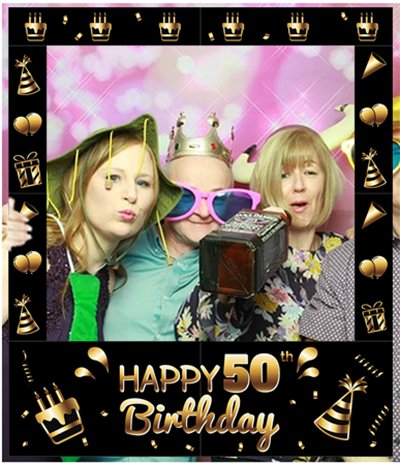Aahs EngravingHappy 50th Birthday Party Photo Frame Prop, 35 X 30 inches