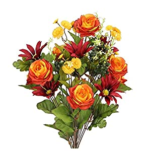 Admired By Nature 2 Piece 24 Stems Home Office/Wedding/Restaurant Decoration Arrangement Artificial Daisy/Rose Mixed Flowers Bush 110