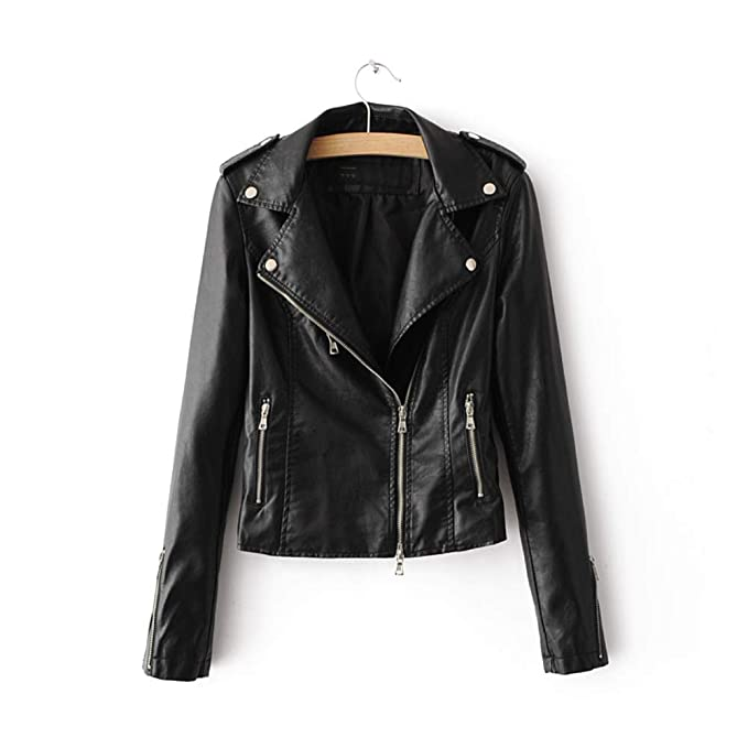 LJYH Womens Zipper Motorcycle Biker Faux Leather Jackets