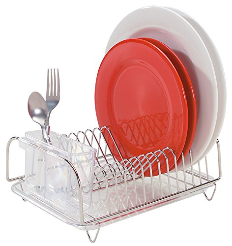 Better Houseware 3423 Compact Dish Drainer Set, Dish Rack, Drain Board, and Cutlery Holder - Clear Plastic and Stainless Steel