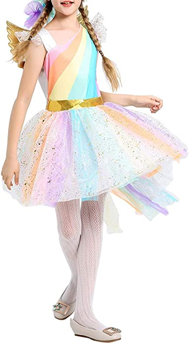 Rainbow Unicorn Costume Girl Cosplay Dress Gold Wing Headband Birthday Party