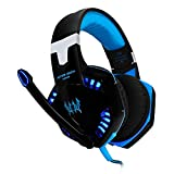 VersionTech G2000 Stereo Gaming Headset for PS4, Bass Over-Ear Headphones with Mic and LED Lights for Laptop, PC, Computer, Smartphones, Blue