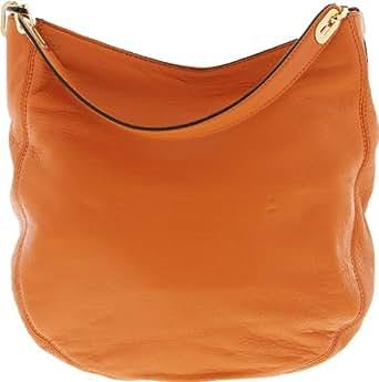 Michael Kors Women's Fulton Medium Chain Leather Shoulder Hobo - Tangerine