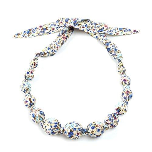 (Peppercorn Kids Girls Fabric Necklace - Floral - Cornflower Blue)