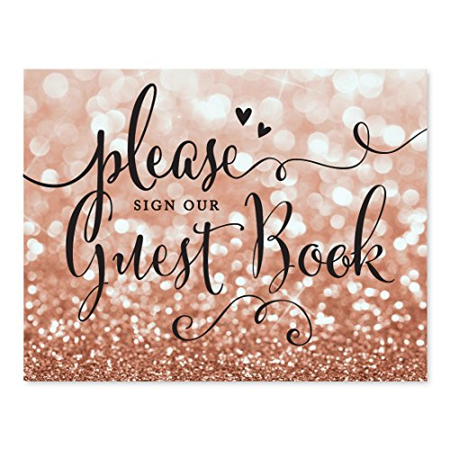 Andaz Press Wedding Party Signs, Glitzy Rose Gold Glitter, 8.5x11-inch, Please Sign our Guestbook, 1-Pack, Bokeh Colored Party Supplies
