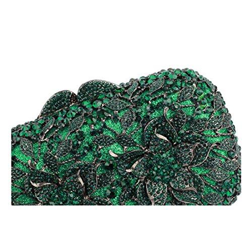 De Soirée Cristal Diamants Main Luxe Sac Green Sac à Femme Le gTw44U