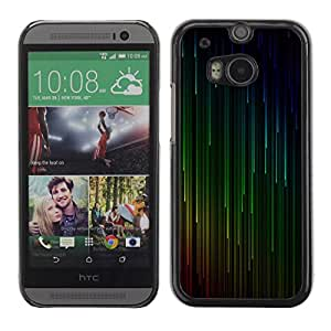 LASTONE PHONE CASE / Slim Protector Hard Shell Cover Case for HTC One M8 / Green Red Cyan Falling Stars