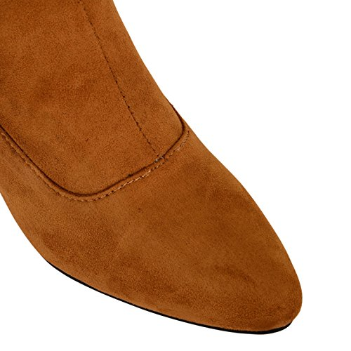 Tilly Shoes–Nuevo Chelsea Tacón Chunky Twin Gusset Botines Zapatos Beige - marrón (Tan Suede)
