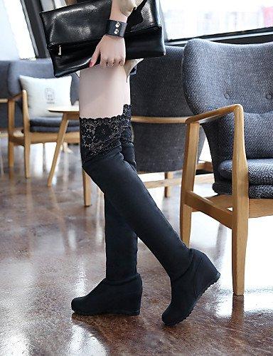 XZZ  Damenschuhe - Stiefel - - - Kleid   Lässig - Spitze   Vlies - Keilabsatz - Wedges   Rundeschuh   Modische Stiefel - Schwarz B01L1GR6IA Sport- & Outdoorschuhe Zu einem erschwinglichen Preis 6f15c7