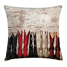 Western Throw Pillow Cushion Cover by Ambesonne, American Legend Cowgirl Leather Boots Rustic Wild West Theme Cultural Print, Decorative Square Accent Pillow Case, 16 X 16 Inches, Beige Red Black