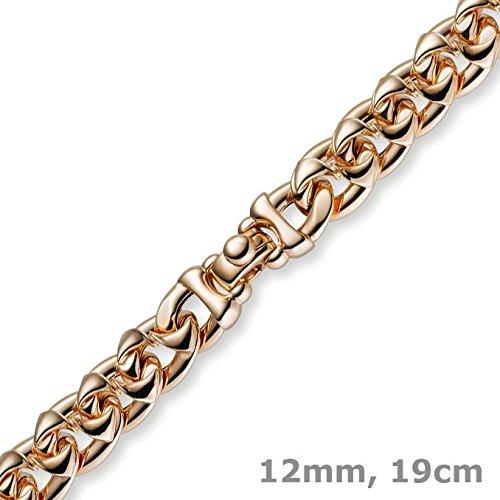 Les bracelets bracelet phantasiekette 12 mm en or jaune 585 en or rose 19 cm