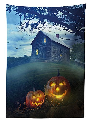 Halloween Decorations Tablecloth Rustic Wooden Haunted House Landscape in Misty Valley with Scary Pumpkins in the Dawn Rectangular Table Cover for Dining Room Kitchenes Multi (Williamsburg Halloween)