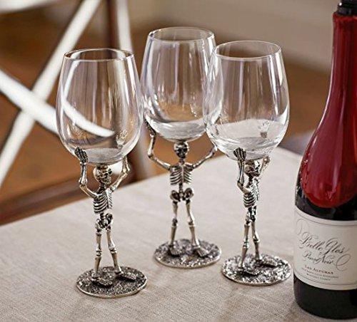 Four (4)-Piece Walking Dead Skelton Hand Blown Glass Wine Goblets